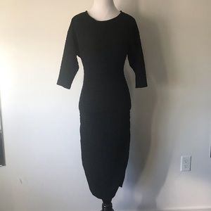 Vintage open back pussy bow wiggle dress
